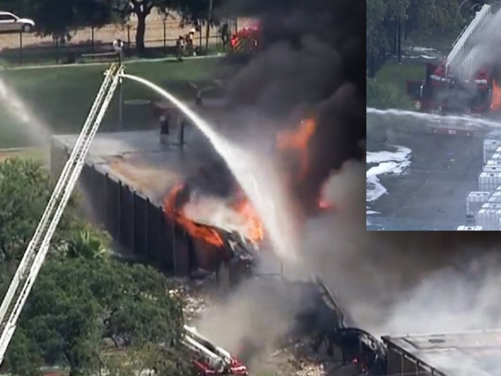 HMN -  Fire burns warehouse, HFD truck in southwest Houston; shelter-in-place nearby